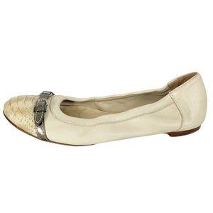 AGL Cream Leather Snakeskin Cap Toe Ballet Flat